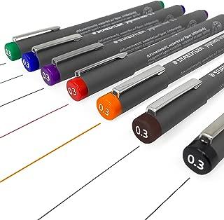 Staedtler 308 Pigment Liner Fineliner – 0.3mm - Full Set of 7 Colours
