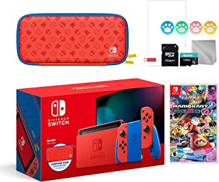 2021 New Nintendo Switch Mario Red & Blue Limited Edition with Mario Iconography Carrying Case and Screen Protector Bundle...