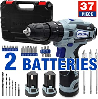 WORKPRO 12V Cordless Drill Driver Kit, with 2 Lithium Ion Batteries (2000 mAh), 2A Fast Charger, 18+3 Clutch, 220 In-lb Torque, 34pcs Drill Driver Bits Included