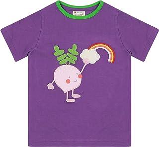 Piccalilly Tee-shirt pour enfant en coton bio doux, motif végétal et arc-en-ciel