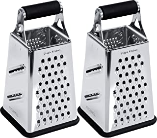Utopia Kitchen Cheese Grater for Kitchen Stainless Steel 4 Sides - Easy to Use and Non-Slip Base [2-Pack]
