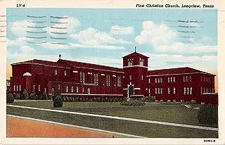 Longview Texas bird's eye view of First Christian Church antique pc Y7978