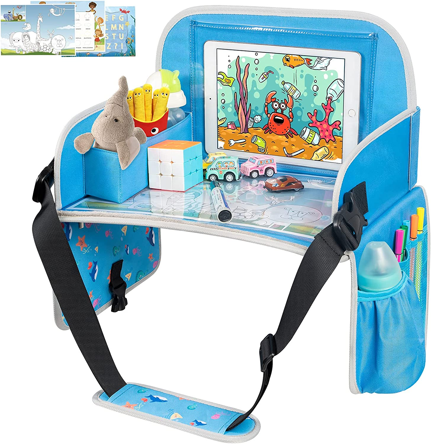 Kids Travel Tray, Car Seat Trays for Kids Travel, Toddler Travel Tray with Tablet Holder, Travel Accessories for Kids with Dry Erase Board & Storage Pocket, Road Trip Essentials Kids Tray, Blue