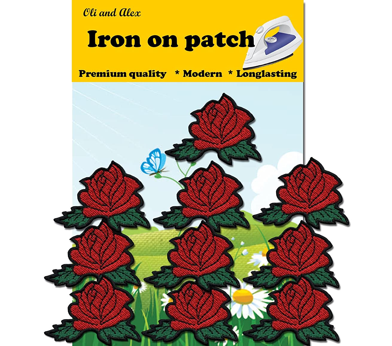 A-61, 10 RED Rose Patches DIY Applique Embroidered Iron on Patch