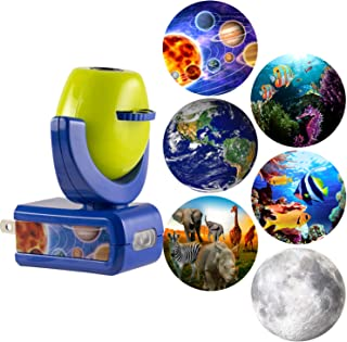 Projectables 13347 Six Image LED Plug-In Night Light, Green and Blue, Light Sensing, Auto On/Off, Projects Solar System, Earth, Moon, Safari, Aquarium, and Coral Reef on Ceiling, Wall, or Floor