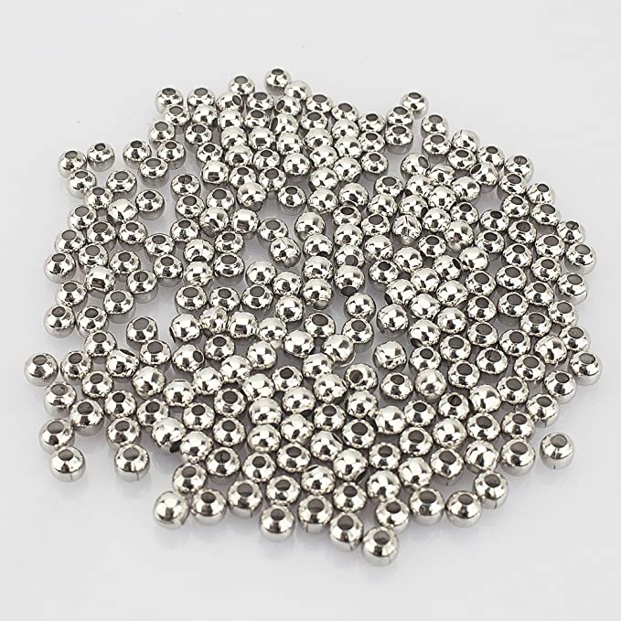 R Gold Plated Smooth Round Metal Beads 10 mm 100 Pcs LolliBeads