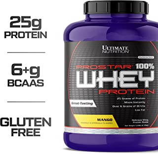 Ultimate Nutrition Prostar Whey Protein Powder Blend of Whey Concentrate Isolate and Peptides – Low Carb, Keto Friendly, 25 Grams of Protein - 80 Servings, Mango, 5.28 Pounds