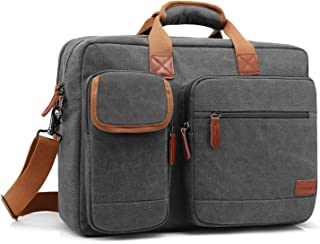 CoolBELL 17.3 Inch Laptop Messenger Bag Briefcase Protective Shoulder Bag Multi-Functional Business Hand Bag for Laptop/Ultrabook/Tablet/MacBook/Dell/HP/Men/Women (Canvas Dark Grey)