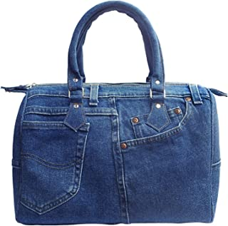 Women Doctor Style Blue Denim Purse Handbag ML100 (Dark Shade)