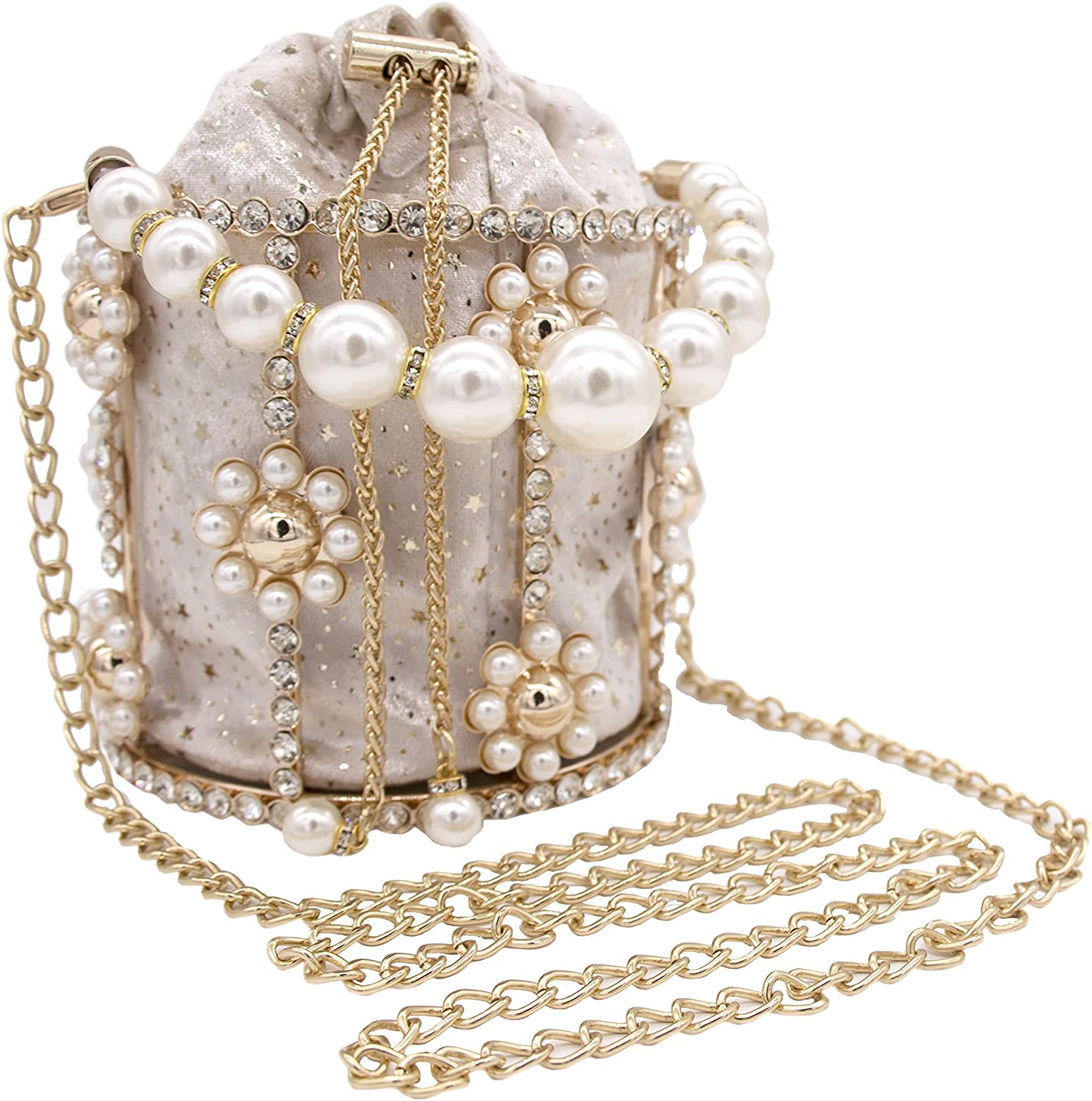 Women Flower Clutch Bag Pearl Evening Purses Top-Handle Crystal Beaded Clutch Handbags for Formal Wedding Prom Party