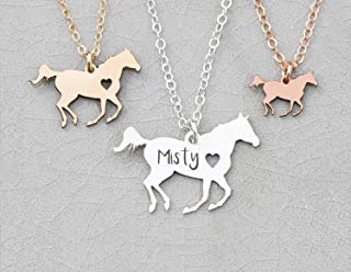 Personalized Horse Racing Necklace - IBD - Custom Name Date - 935 Sterling Silver 14K Rose Gold Filled - Running Wild Stallion