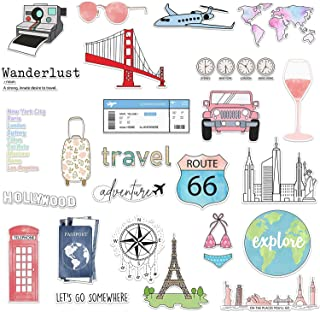 RipDesigns - 25 Travel Stickers for Water Bottles, Laptops (Series 12)