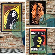 Colors Of Rajasthan Set of 3 Bob Marley Tapestry Psychedelic Hippie Reggae Music Indian Decor Wall Hanging Decor Cotton Poster Yoga Mat Tapestry (Set 2)