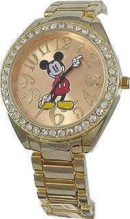Disney Women's Mickey Mouse Rhinestone Accent Gold-Tone Bracelet Watch MK2255