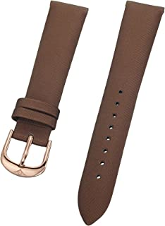 Stuhrling Original Ladies 18mm brown satin twill covered leather strap with rose tone buckle st.156.124T14