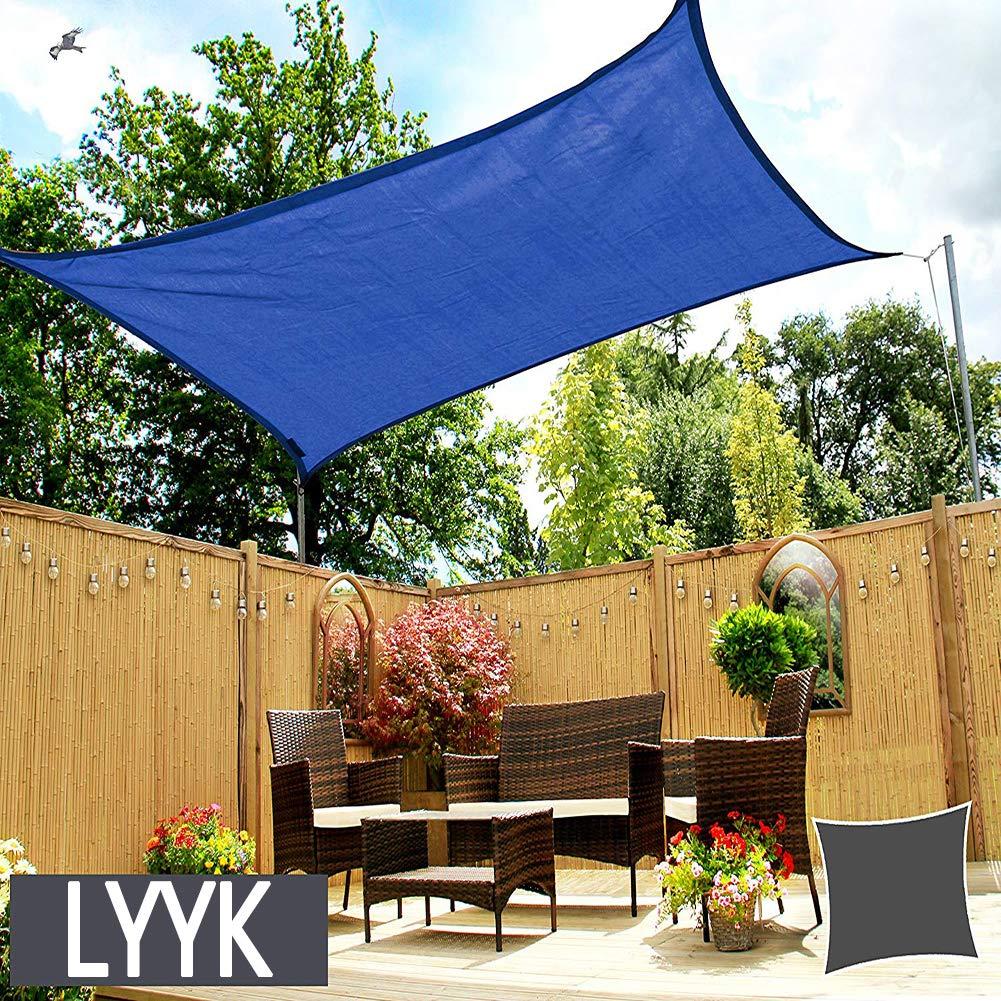 LYYK Toldo Vela de Sombra Rectangular 2x5m, Toldo Vela de Sombra axT Shade, Impermeable Protección UV 90% Repelente del Agua Arena, para Jardín Patio Exteriores - Azul: Amazon.es: Hogar
