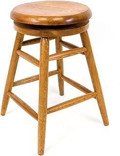 AW Furniture Solid Medium Oak Backless Saddle Swivel Bar Stool 24 Inches