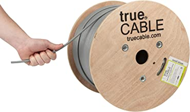 Cat6A Shielded Riser (CMR), 1000ft, Gray, 23AWG Solid Bare Copper, 750MHz, ETL Listed, Overall Foil Shield (FTP), Bulk Ethernet Cable, trueCABLE