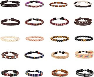 15-20 Pcs Braided Bracelet Set Women Men Beads Leather Wristbands Boho Ethnic Tribal Linen Hemp Cords Wrap Bracelets String Handmade Jewelry