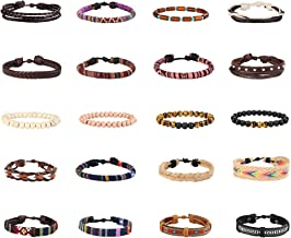 Finrezio 15-20 Pcs Braided Bracelet Set Women Men Beads Leather Wristbands Boho Ethnic Tribal Linen Hemp Cords Wrap Bracelets String Handmade Jewelry