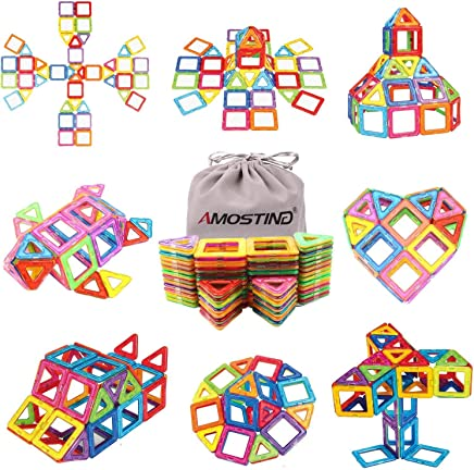 Magnetic Blocks Building Set for Kids, Magnetic Tiles Educational Building Construction Toys by idoot for Boys and Girls with Storage Bag - 64pcs