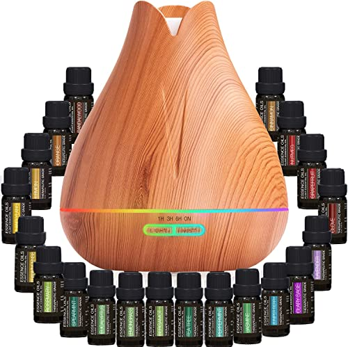 discount Aromatherapy Essential Oil Diffuser discount Gift Set - 400ml Ultrasonic high quality Diffuser with 20 Essential Plant Oils - 4 Timer & 7 Ambient Light Settings - Therapeutic Grade Essential Oils online sale