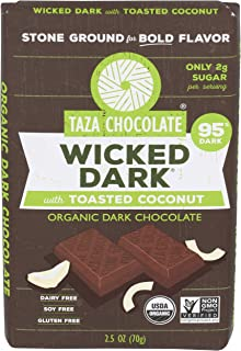 Taza Chocolates, Chocolate Bar Wicked Dark Toasted Coconut Organic, 2.5 Ounce