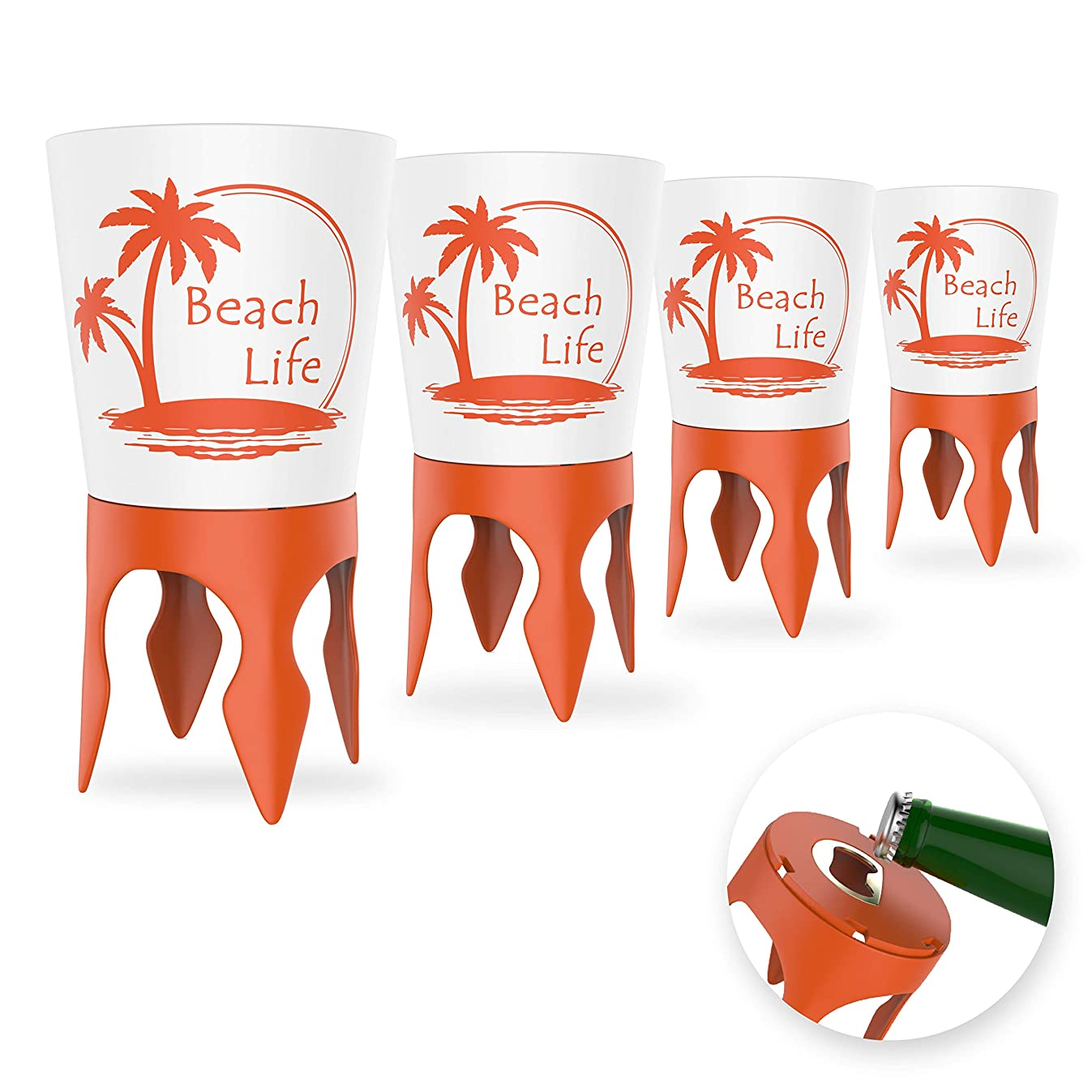 Beach Vacation Accessories: Beach Drink Cup Holder Sand with Bottle Opener and Spikes (4 Pack) | Spike Coaster Cups - Supplies Gear Essentials Stuff Items Necessities Must Haves for Adults Women Men
