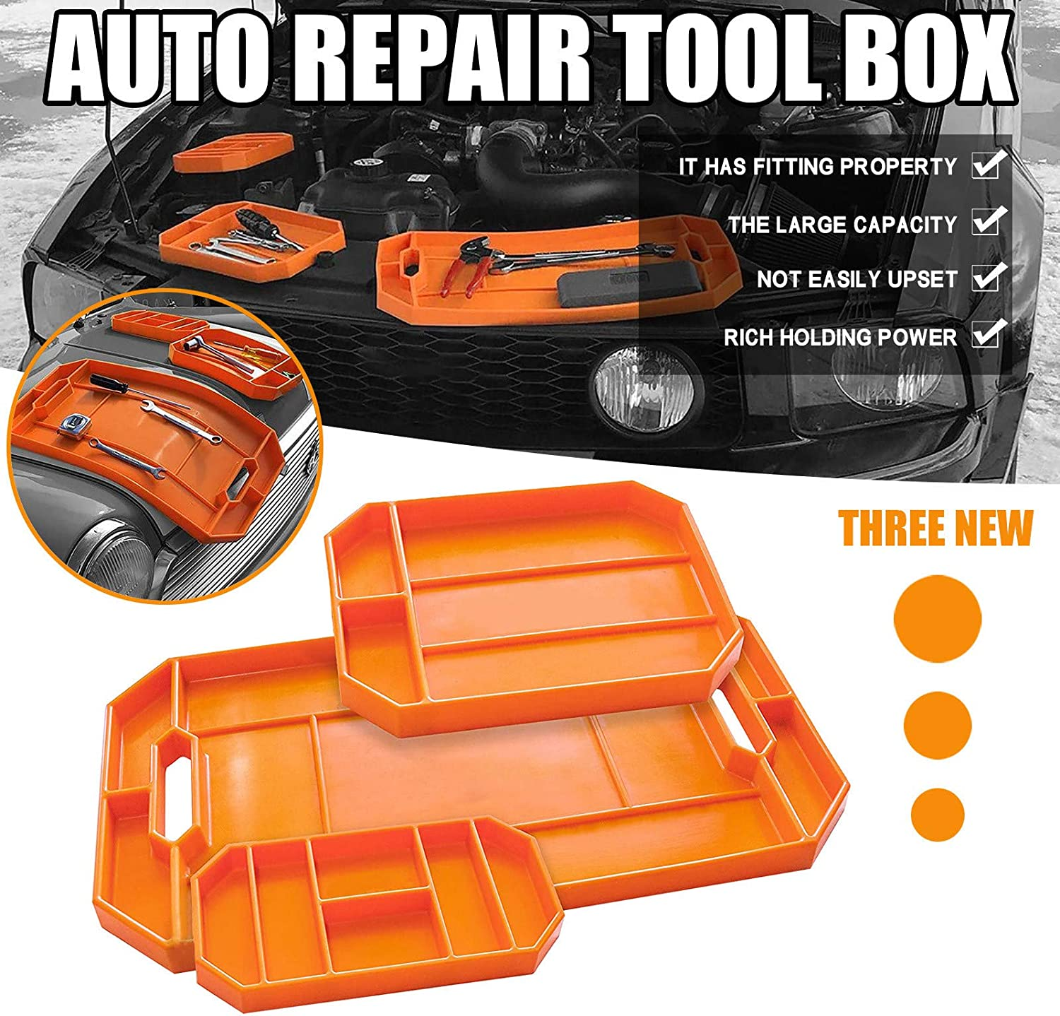 Large Tool Organizer and Storage Securely Form to Any Surface for Easy Part Pickup Non-slip Flexible Tool Tray,Non-magnetic Silicone Tool Tray L