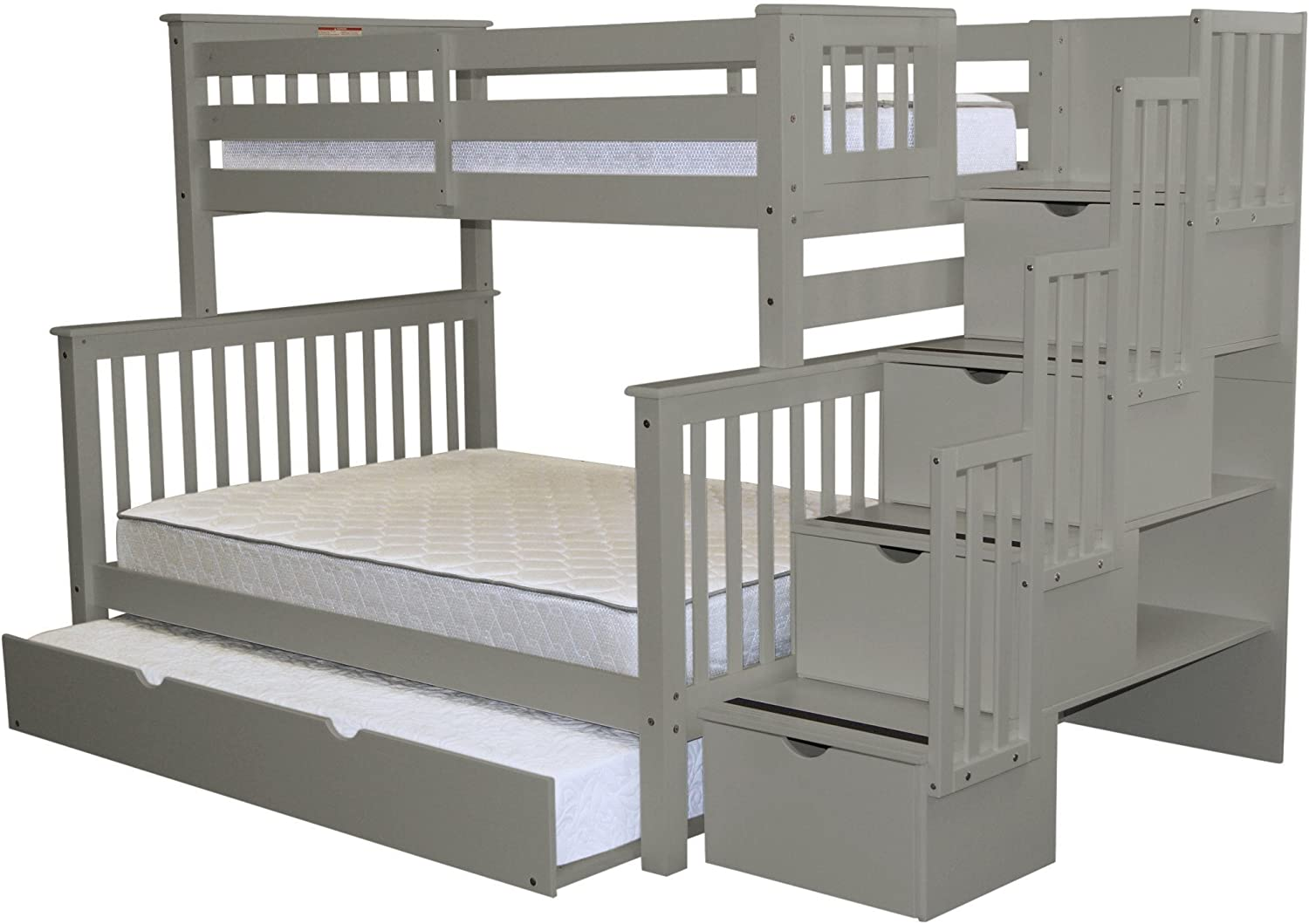 Buy Bedz King Stairway Bunk Beds Twin Over Full With 4 Drawers In The Steps And A Full Trundle Gray Online In Turkey B01f26deeu