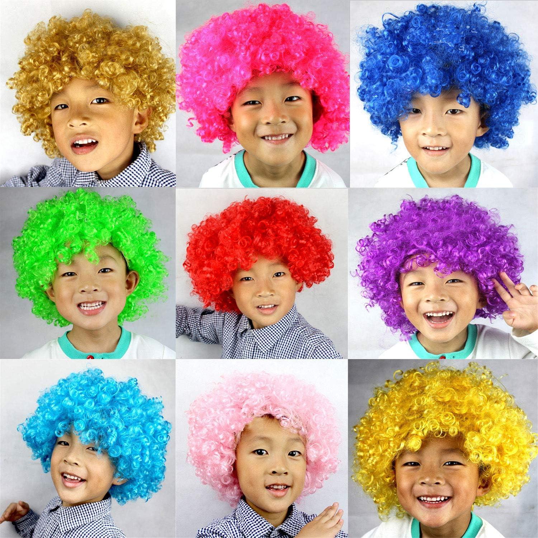 Multicolore Jingyuu Perruques,Unisexe Adulte Enfant Perruque Clown Boucl/ée pour Enfant Gar/çons Filles Fantaisie F/ête Party Cosplay Curly Clown Wig