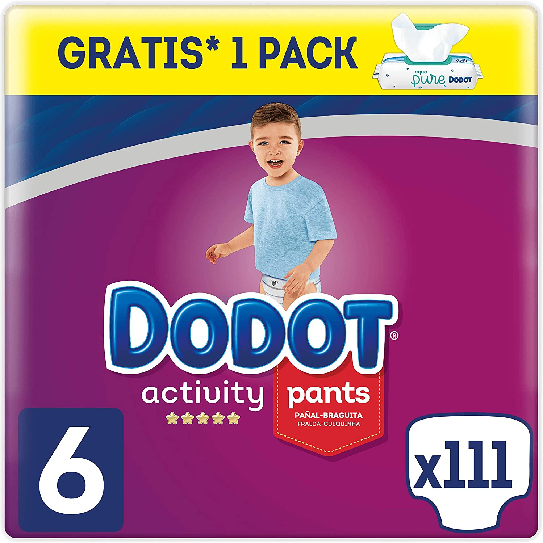 Dodot Pañales Bebé Activity Pants Talla 6 (+15 kg), 111 Pañales + 1 Pack de 48 Toallitas Dodot Aqua Pure de Regalo
