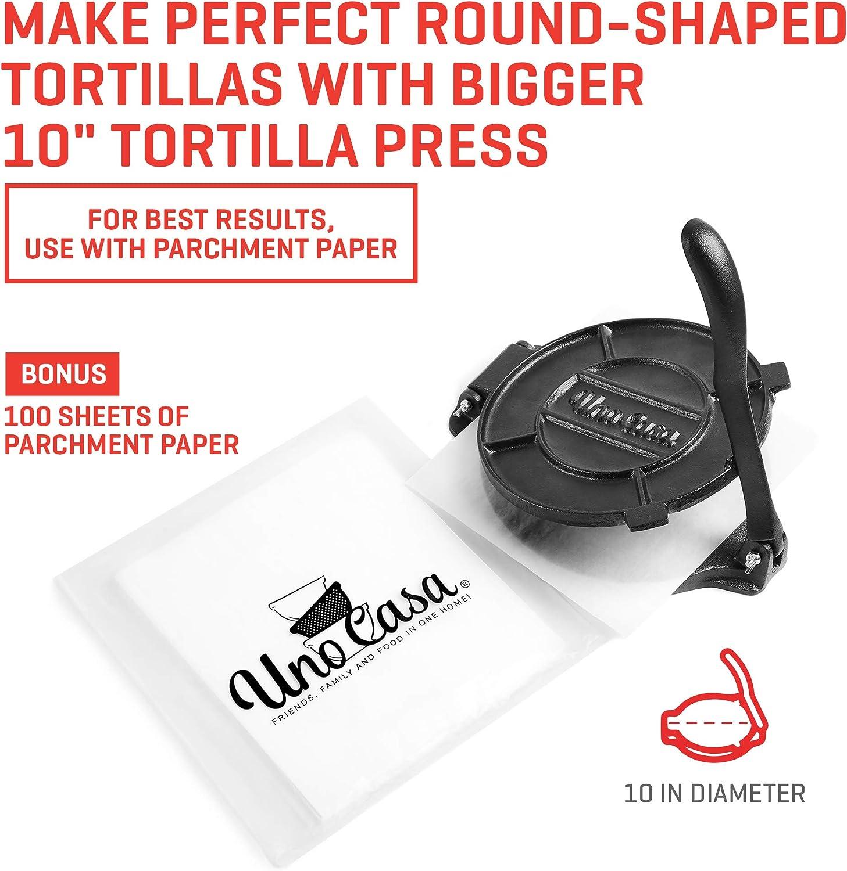 Uno Casa Tortilla Presse, Gusseisen, 10,10 cm, Roti und Tortilla Maker –  Bonus 10 Stück Pergamentpapier