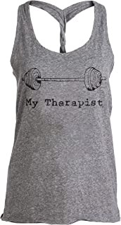 Ann Arbor T-shirt Co. My Therapist (Barbell) | Funny Workout Working Out Weight Lifting Tank Top for Women