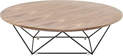 Limari Home Edna Collection Modern Style Living Room Veneer Finished Round Coffee Table With Metal Base, Walnut & Black