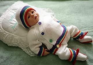 DollieBabies Knitting Pattern 76 - Rainbow Baby Boy Kimono Style Cardigan Set