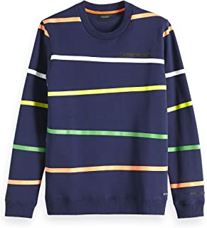 Scotch & Soda Men's Crew Neck Sweat with Different All Over Prints