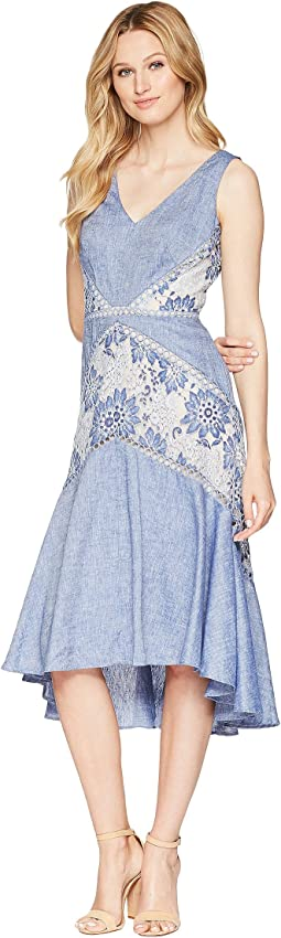 Lace V-Neck Linen Dress