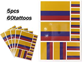 JBCD Colombia Temporary Tattoos 60 Pcs Colombian Flag Stickers Waterproof Tattoos National Flags Tattoo Patriotic Face Tattoos, Suitable for Sports Event Parties and Pride Decorations