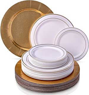 MODERN ELEGANT DISPOSABLE 60 PC DINNERWARE SET | Heavy Duty Plastic Dishes | 20 Chargers | 20 Dinner Plates | 20 Salad Plates | for Upscale Wedding and Dining | Golden Glare Collection (White/Gold)
