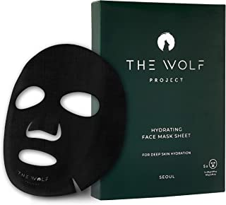 WOLF PROJECT | HYDRATING FACE MASK SHEET - Box of 5 - For Men, Charcoal Face Mask, Anti-Aging, Powerful Natural Serum, Bamboo Charcoal Sheet, Vitamin B3, Anti-Wrinkles, Healthy Skin