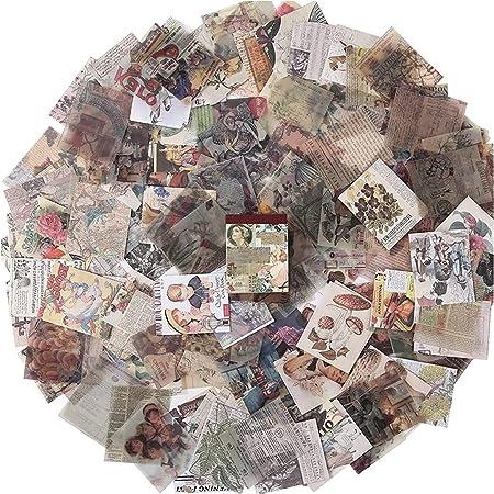 400 Pièces Papier de Fond Décoratif pour Scrapbooking, Papier Scrapbooking Matériel Papier de Décoration, Bricolage Journal Scrapbook Carterie Accessoires Décoration, 40 x 50 mm