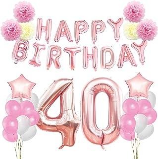 KUNGYO Decoraciones de Feliz Cumpleaños 40 Oro Rosa Happy Birthday Bandera Gigante Número 40 y Estrella de Helio Globos Cintas Flores de Papel Pom Globos de látex