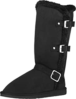 CLOVERLY Women`s Winter Snow Boots with Buckles Vegan Leather Mid-Calf Fur Boots