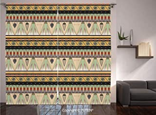 Thermal Insulated Blackout Window Curtain [ Egyptian,Colorful Abstract Borders Traditional Old Cairo Culture Indigenous Motifs Symbols Decorative,Multicolor ] for Living Room Bedroom Dorm Room Classro