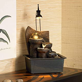 John Timberland Japanese Zen Indoor Table-Top Water Fountain with Light LED 10