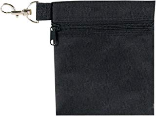BuyAgain Golf Tee Pouch, 5.62 X 6.87 Inch Professional Zipper Golf Tee/Ball Pouch Bag with Metal Lobster Claw Clip