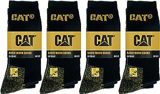 Caterpillar, 12 Pares Calcetines Básicos de Trabajo - Media Pantorrilla - Esponja Algodón - Puntera y talón reforzados
