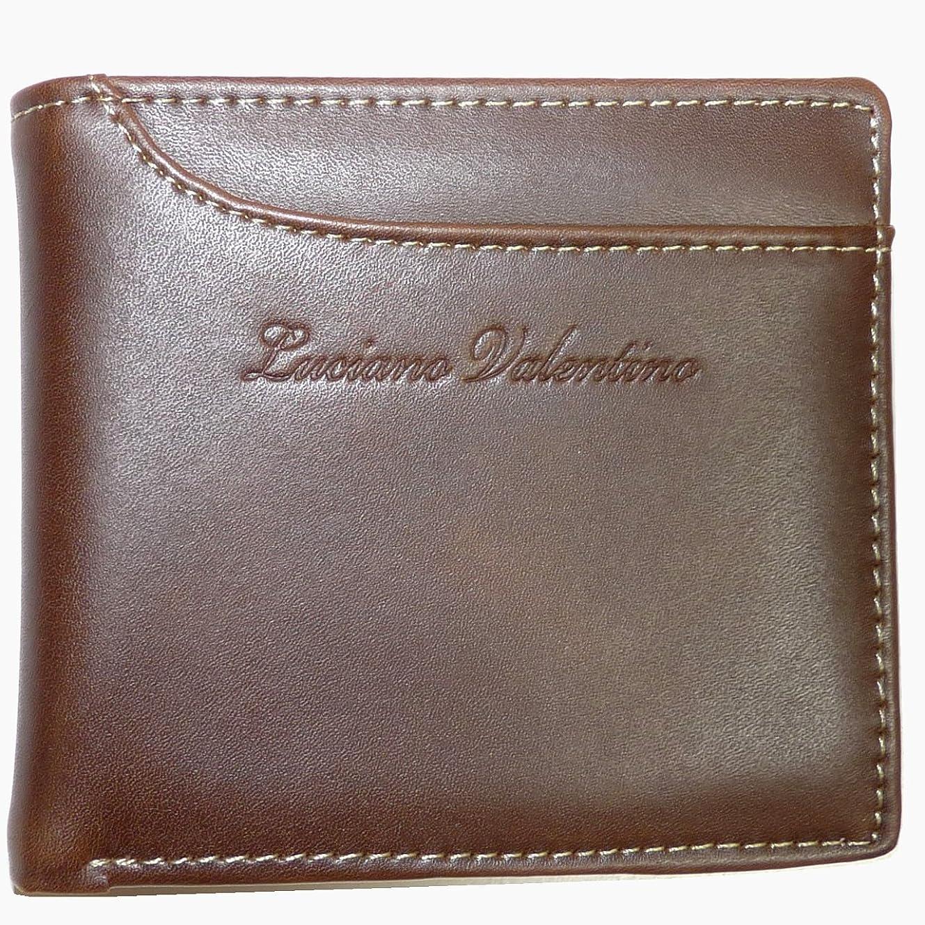 終了しました子頑張る[LUCIANO VALENTINO ルチアーノバレンチノ] かっこいい大人のカードスライダー短財布 (スムースレザー LUV-2005) (ブラウン)