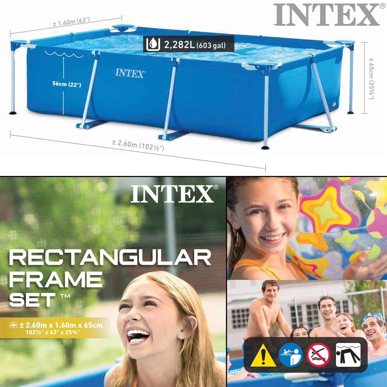 Intex 260 x 160 x 65 cm Frame Pool Set Family Filtro de Arena ...